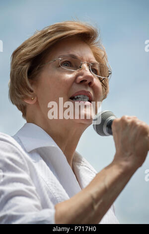 U.S. Senator Elizabeth Warren (Democrat Massachusetts) speaks to thousands from the back of a truck at Boston City Hall during the Rally against Family Separation in Boston, MA. Large rallies against U.S. President Trump's policy of separating immigrant families took place in more than 750 U.S. cities on June 30th of 2018. - Stock Photo
