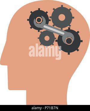 Head with gears - Stock Photo