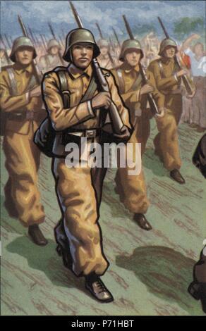 Epopeyas de la guerra civil española (1936-1939). Barcelona, desfile del ejército regular popular. Cromo editado por Almacenes Alemanes en Octubre de 1937. - Stock Photo