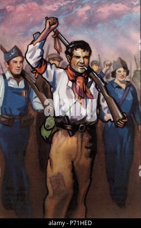 Epopeyas de la guerra civil española (1936-1939). Milicianos desfilando por las calles de Barcelona. Cromo editado por Almacenes Alemanes en Octubre de 1937. - Stock Photo