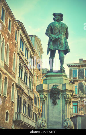 Campo San Bartolomeo with monument in Honour of Carlo Goldoni in Venice, Italy. (Was erected in 1883) - Stock Photo