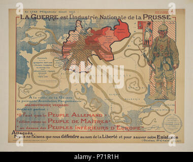 .  English: War is the National Industry of Prussia Français: La Guerre est l'Industrie Nationale de la Prusse  .  English: This French propaganda poster from 1917 commissioned a map which portrayed Prussia as an octopus stretching out its tentacles vying for control and it is captioned with an 18th century quote: 'Even in 1788, Mirabeau was saying that War is the National Industry of Prussia.' . 1917 163 Maurice Neumont, War is the National Industry of Prussia, 1917, Cornell CUL PJM 1185 01 - Stock Photo