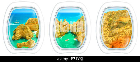 Porthole frame windows interior flying on Ponta da Piedade in Lagos, Algarve, Portugal. Scenic flight above scenic landscape of boat trip between cliffs aerial view with white background copy space. - Stock Photo