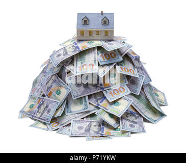 Pile of Hundred Dollar Bills with House on Top Isolated on White. - Stock Photo