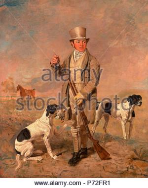 Portrait of a Sportsman, Possibly Richard Prince Supposed Portrait of the Artist with Gun and Dogs ?Richard Prince, with Damon, the late Colonel Mellish's Pointer Portrait of the Artist with a Gun and Dogs Signed in brown paint, lower right: 'B. Marshall', Benjamin Marshall, 1767-1835, British. - Stock Photo