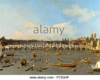 London, Westminster Bridge, with the Lord Mayor's Procession on the Thames Westminster Bridge from the North with the Lord Mayor's Procession, 29 October 1746, Canaletto, 1697-1768, Italian. - Stock Photo