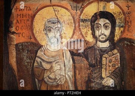 Jesus and Menas in a 6th century icon from Bawit in Middle Egypt, Saint-Pierre-le-Jeune Protestant Church, Strasbourg, France, Europe - Stock Photo
