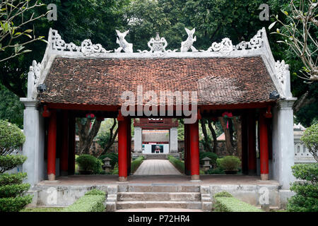 The Temple of Literature, a Confucian temple formerly a center of learning in Hanoi, Vietnam, Indochina, Southeast Asia, Asia - Stock Photo