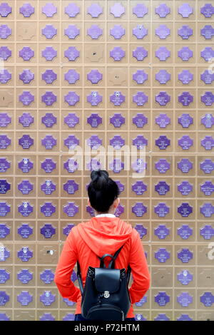 Memorial wall with names of the dead, Church of the Sacred Heart of Jesus (Nha Tho Tan Dinh), Ho Chi Minh City, Vietnam, Indochina, Asia - Stock Photo
