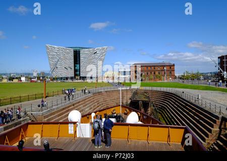 SS Nomadic, Belfast's Titanic Quarter with the Titanic Belfast Museum in the background, Belfast, Northern Ireland, United Kingdom, Europe - Stock Photo