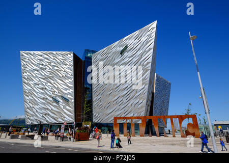 Titanic Belfast Museum on the site of the former Harland and Wolff shipyard, Belfast, Northern Ireland, United Kingdom, Europe - Stock Photo
