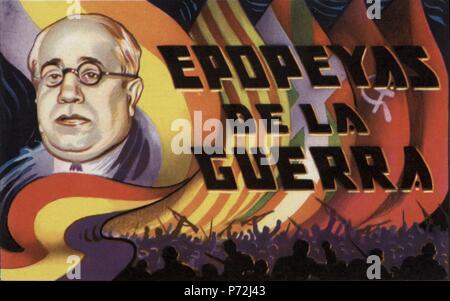 Epopeyas de la guerra civil española (1936-1939). Manuel Azaña Díaz (1880-1940), presidente de la república. Cromo editado por Almacenes Alemanes en Octubre de 1937. - Stock Photo