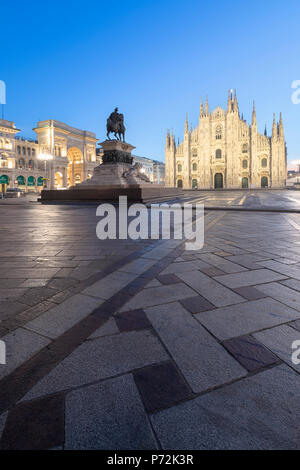 Statue of Vittorio Emanuele II monument and Milan Cathedral (Duomo), Milan, Lombardy, Italy, Europe - Stock Photo
