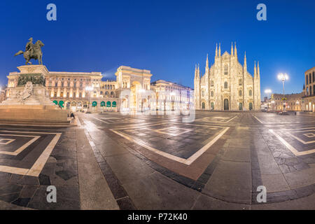 Panoramic of Milan Cathedral (Duomo) and Galleria Vittorio Emanuele II at dusk, Milan, Lombardy, Italy, Europe - Stock Photo