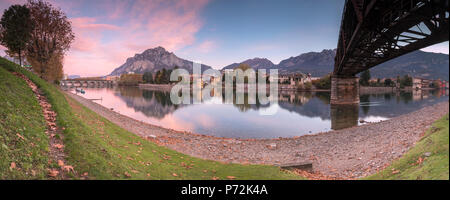 Panoramic of River Adda with Lecco in background, Lombardy, Italy, Europe - Stock Photo
