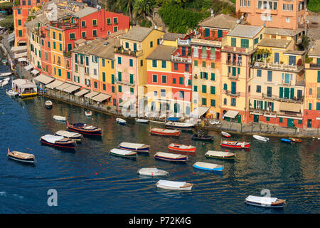 Harbour and typical coloured houses, Portofino, province of Genoa, Liguria, Italy, Europe - Stock Photo