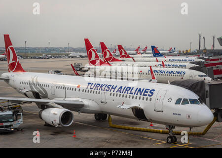 Istanbul, Turkey - June 2018: Turkish Airlines Aircraft on the runway of Istanbul Atatürk Airport. Turkish airlines is the national flag carrier airli - Stock Photo
