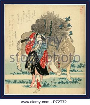 Oharame, Oharame: village girl from Ohara., Katsushika, Hokusai, 1760-1849, artist, 1829., 1 print : woodcut, color ; 20.6 x 18.7 cm., Print shows an oharame from Ohara carrying bundles of reeds on her head and leading an ox laden with bundles of reeds. - Stock Photo