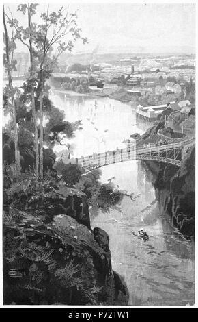 Engraving of the city of Launceston from the Cataract Bridge, Tasmania, Australia, circa 1880. From the Picturesque Atlas of Australasia Vol 2, 1886 - Stock Photo