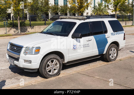 A U.S. Customs and Border Protection Field Operations vehicle parked in front of the Mobile Service Port office in Mobile, Alabama. - Stock Photo
