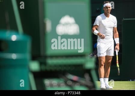 London, UK. 3rd July, 2018. Rafael Nadal of Spain plays Dudi Sela of Israel  in the mens singles 1st round draw of the Wimbledon Tennis Championships 2018 at The All England Lawn Tennis and Croquet Club, Day 2. London, United Kingdom, 03 July 2018 Credit: Raymond Tang/Alamy Live News - Stock Photo