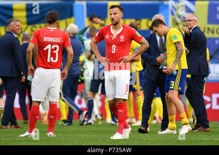St. Petersburg, Russland. 03rd July, 2018. Haris SEFEROVIC (SUI), disappointment, frustrated, disappointed, frustrated, dejected after the end of the game, action. Sweden (SWE) - Switzerland (SUI) 1-0, Round of 16, Round of 16, Game 55, on 07/03/2018 in Saint Petersburg, Arena Saint Petersburg. Football World Cup 2018 in Russia from 14.06. - 15.07.2018. | usage worldwide Credit: dpa/Alamy Live News - Stock Photo
