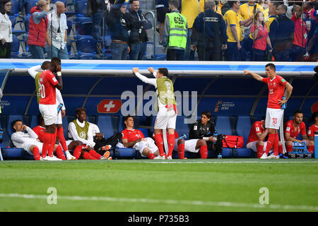 St. Petersburg, Russland. 03rd July, 2018. Swiss player disappointment, frustrated, disappointed, frustrated, dejected after game end, action. Sweden (SWE) - Switzerland (SUI) 1-0, Round of 16, Round of 16, Game 55, on 07/03/2018 in Saint Petersburg, Arena Saint Petersburg. Football World Cup 2018 in Russia from 14.06. - 15.07.2018. | usage worldwide Credit: dpa/Alamy Live News - Stock Photo