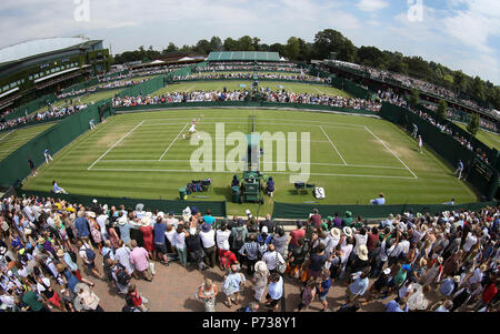 4th July 2018, All England Lawn Tennis and Croquet Club, London, England; The Wimbledon Tennis Championships, Day 3; General view of the Championship Courts - Stock Photo