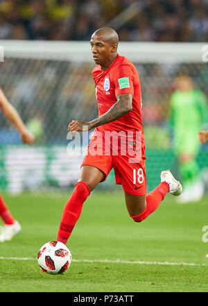 England- Columbia, Soccer, Moscow, July 03, 2018 Ashley YOUNG, England 18  drives, controls the ball, action, full-size, Single action with ball, full body, whole figure, cutout, single shots, ball treatment, pick-up, header, cut out,  ENGLAND - COLUMBIA 1-1, 4-3 after penalty shoot-out FIFA WORLD CUP 2018 RUSSIA, Season 2018/2019,  July 03, 2018 S p a r t a k Stadium in Moscow, Russia. © Peter Schatz / Alamy Live News - Stock Photo