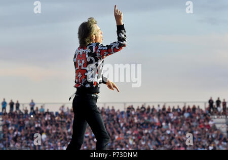 Prague, Czech Republic. 04th July, 2018. Singer Mick Jagger of the Rolling Stones performs during their concert in Prague, on Wednesday, July 4, 2018, as a European part of No Filter tour. Credit: Vit Simanek/CTK Photo/Alamy Live News - Stock Photo