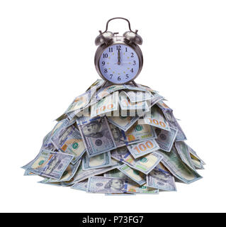 Pile of Money with Alarm Clock on Top Isolated on White Background. - Stock Photo