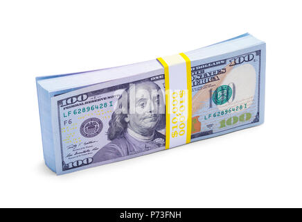 Stack of One Hundred Dollar Bills Isolated on a White Background. - Stock Photo