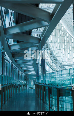 A view from upper level corridor to the ceiling of glass atrium at Tokyo International Forum designed by a U.S. architect, Rafael Viñoly, Tokyo Japan. - Stock Photo