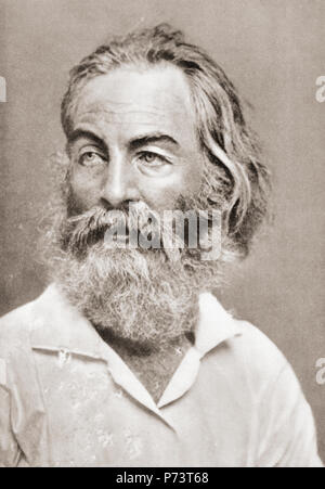 Walter 'Walt' Whitman, 1819 – 1892.  American poet, essayist, and journalist.  After a contemporary print. - Stock Photo