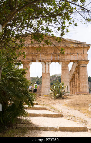 Italy Sicily Segesta ancient Elymian & Ionian Greek Doric temple built 5th century BC 420s BC never finished - Stock Photo