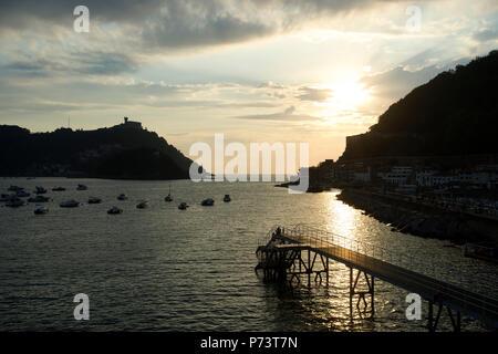Pictures of Donostia / San Sebastián Basque Country 2018, playa de ondarreta and playa concha and beaches. Sunset at La Concha beach - Stock Photo