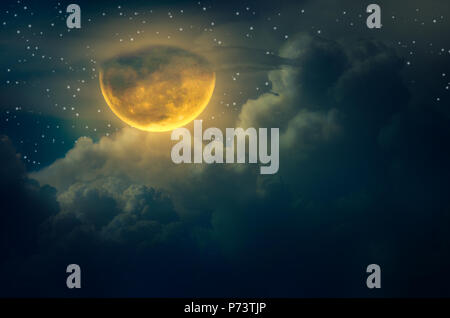 chuseok moon Cloud Big moon floating in the sky with many stars surrounded Halloween - Stock Photo