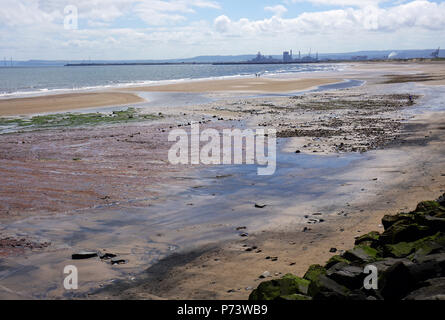 Beach at Seaton Carew Hartlepool England on a Summer Day Tide Going Out - Stock Photo