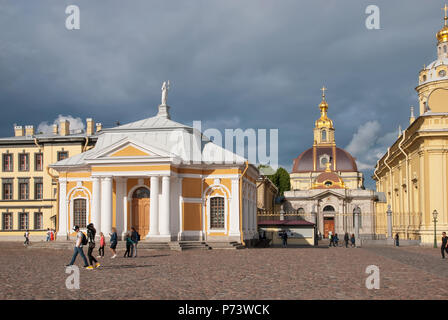 SAINT-PETERSBURG, RUSSIA – JULY 4, 2018: People on the square in Peter and Paul Fortress - Stock Photo