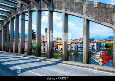 Bridge over the River Adda at Brivio, Lecco, Lombardy, Italy - Stock Photo