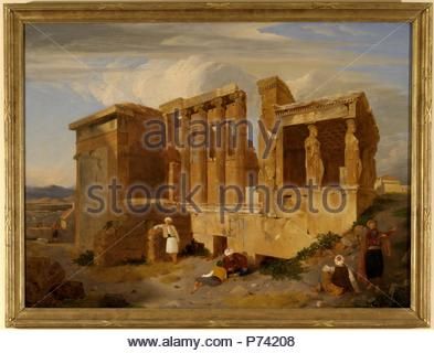 The Erechtheum, Athens, Greece with Figures in the Foreground Signed and dated in brown paint, lower right: 'CLE | R [?] 1821', Charles Lock Eastlake, 1793-1865, British. - Stock Photo