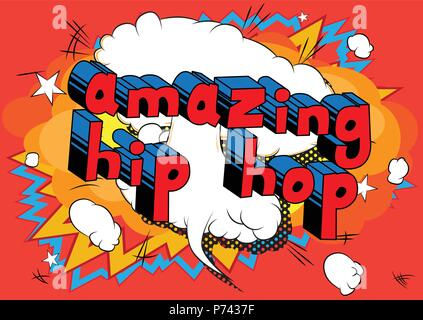 Amazing Hip Hop - Comic book word on abstract background. - Stock Photo