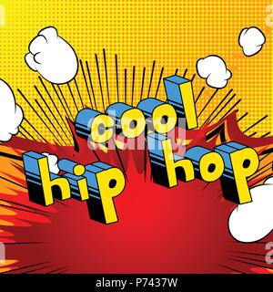 Cool Hip Hop - Comic book word on abstract background. - Stock Photo