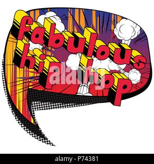Fabulous Hip Hop - Comic book word on abstract background. - Stock Photo