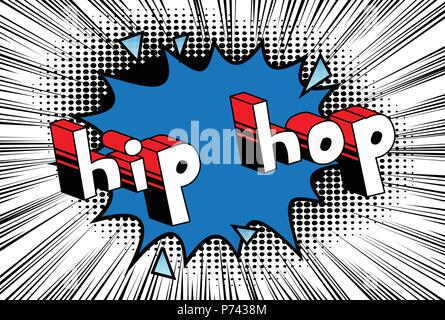 Hip Hop - Comic book word on abstract background. - Stock Photo