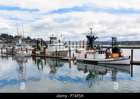 Yaquina Bay and boats in the Port of Newport, Oregon - Stock Photo