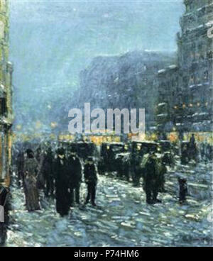 Work by Childe Hassam . before 1935 135 Hassam - broadway-and-42nd-street - Stock Photo
