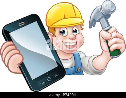 Carpenter Handyman Phone Concept - Stock Photo