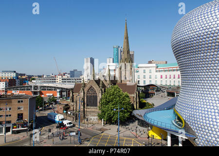 Birmingham, UK: June 29, 2018: The church of St Martin in the Bull Ring is located between the Bull Ring and the markets area. - Stock Photo
