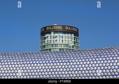 Birmingham, UK: June 29, 2018: Street view of Selfridges Department Store in Park Street - part of the Bullring Shopping Centre. - Stock Photo